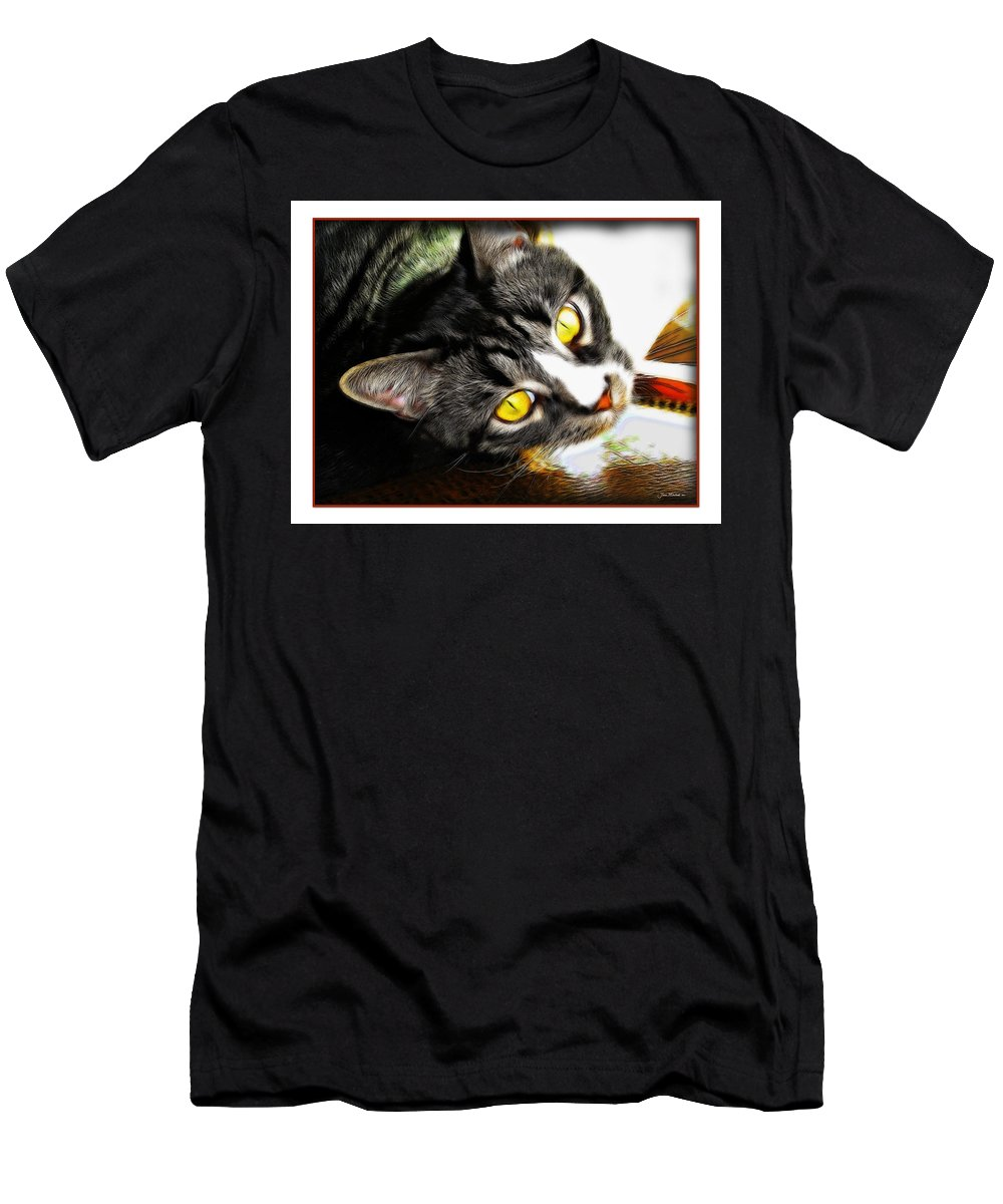 Cat Men's T-Shirt (Athletic Fit) featuring the photograph Curiousity by Joan Minchak