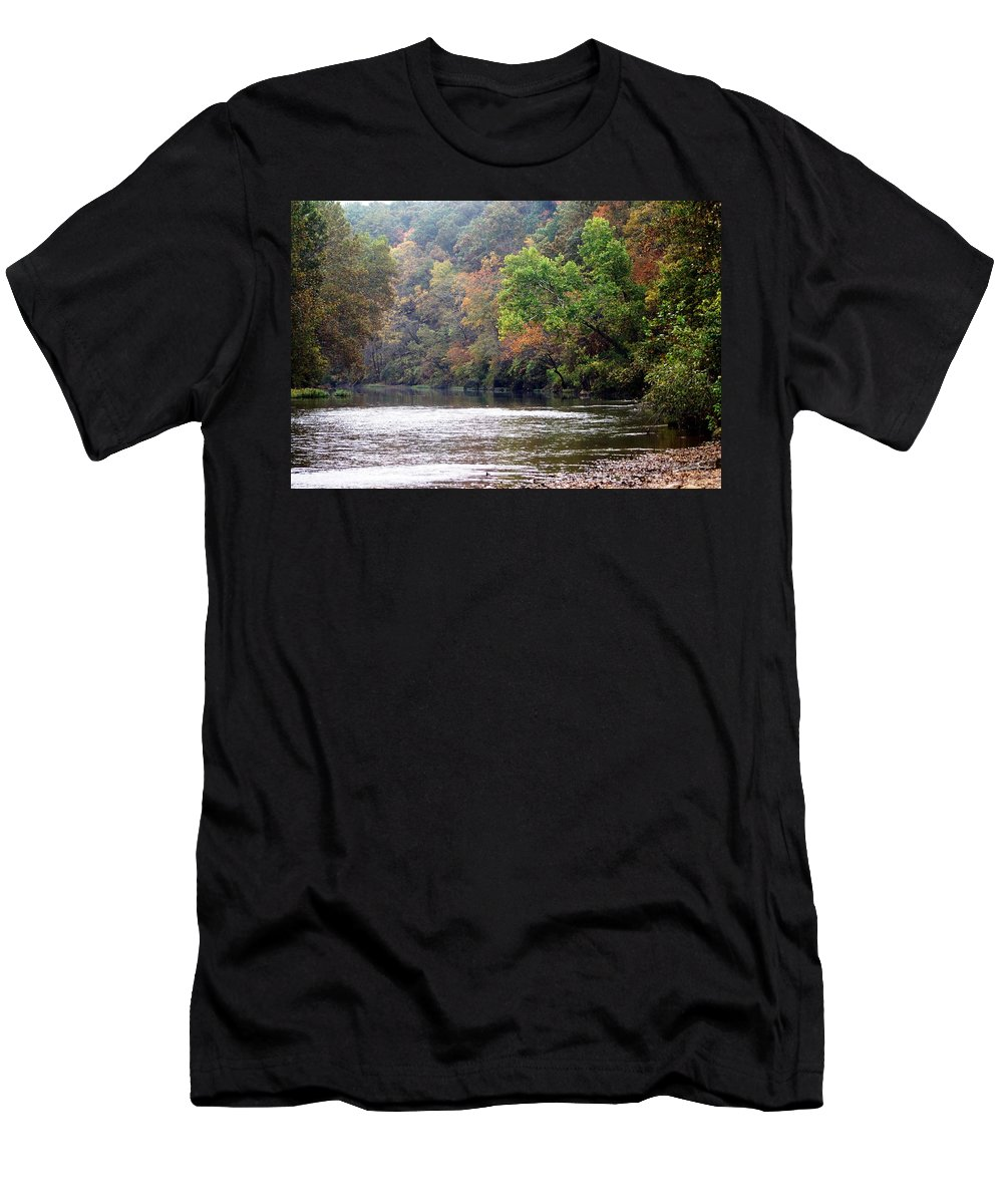 Current River Men's T-Shirt (Athletic Fit) featuring the photograph Current River Fall by Marty Koch