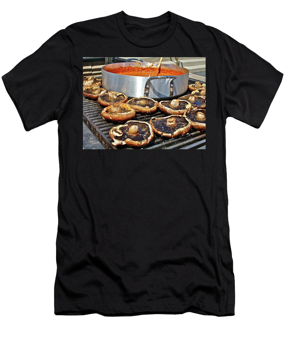Food Men's T-Shirt (Athletic Fit) featuring the photograph Curt's Mushrooms by Diana Hatcher