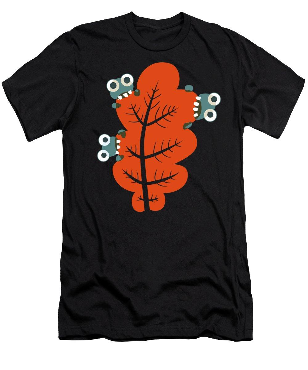 Leaf Men's T-Shirt (Athletic Fit) featuring the digital art Cute Bugs Eat Autumn Leaf by Boriana Giormova