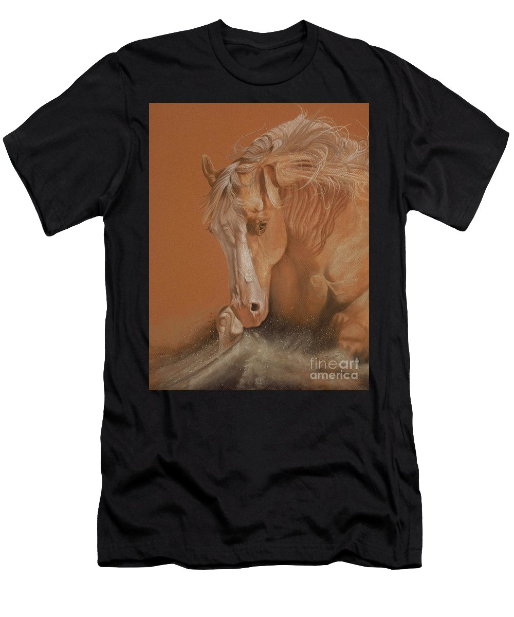 Horse Men's T-Shirt (Athletic Fit) featuring the painting Cutting Horse by Gail Finger