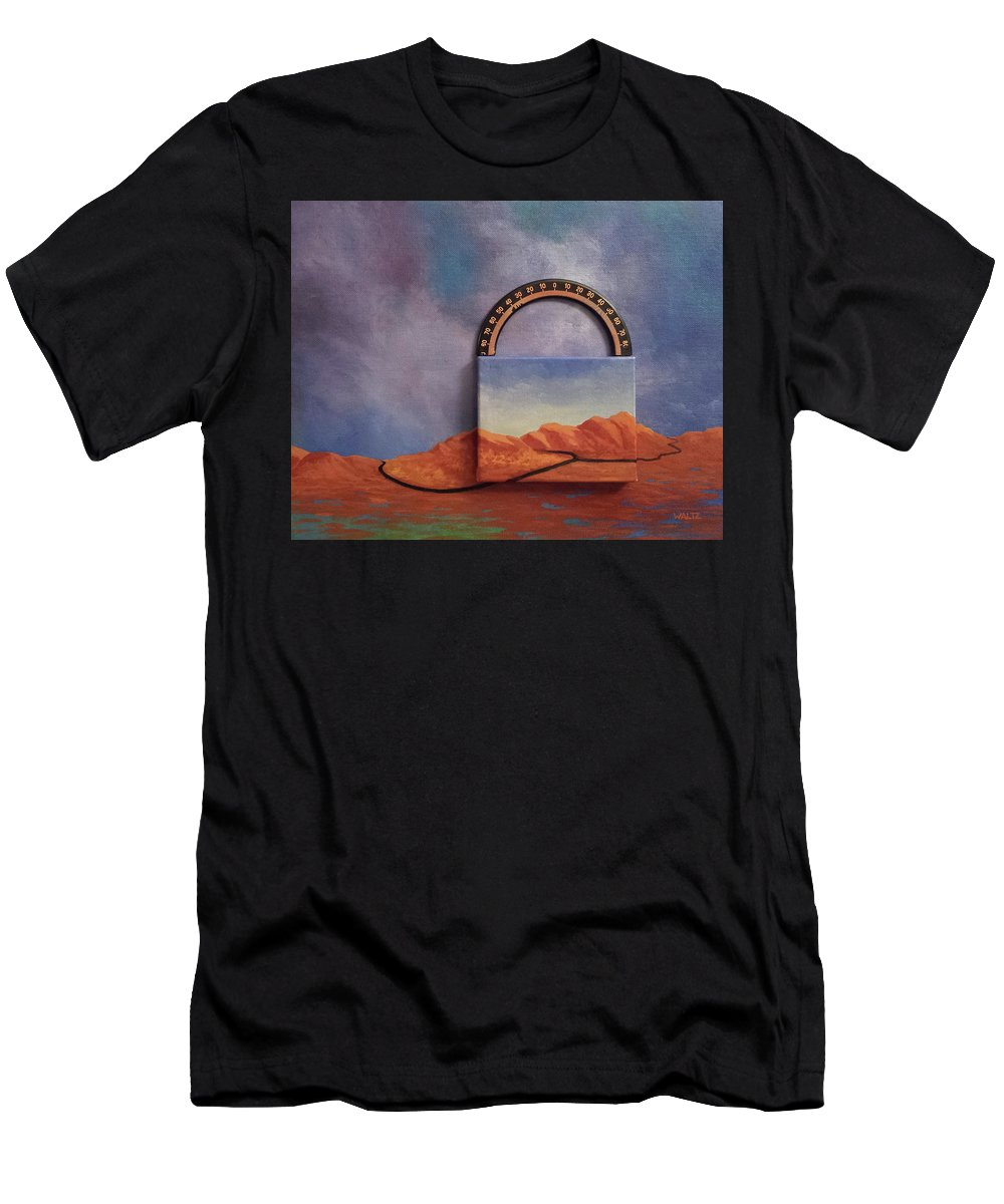 Clouds Mountains Meridian Men's T-Shirt (Athletic Fit) featuring the painting Cyclic Existence by Beth Waltz