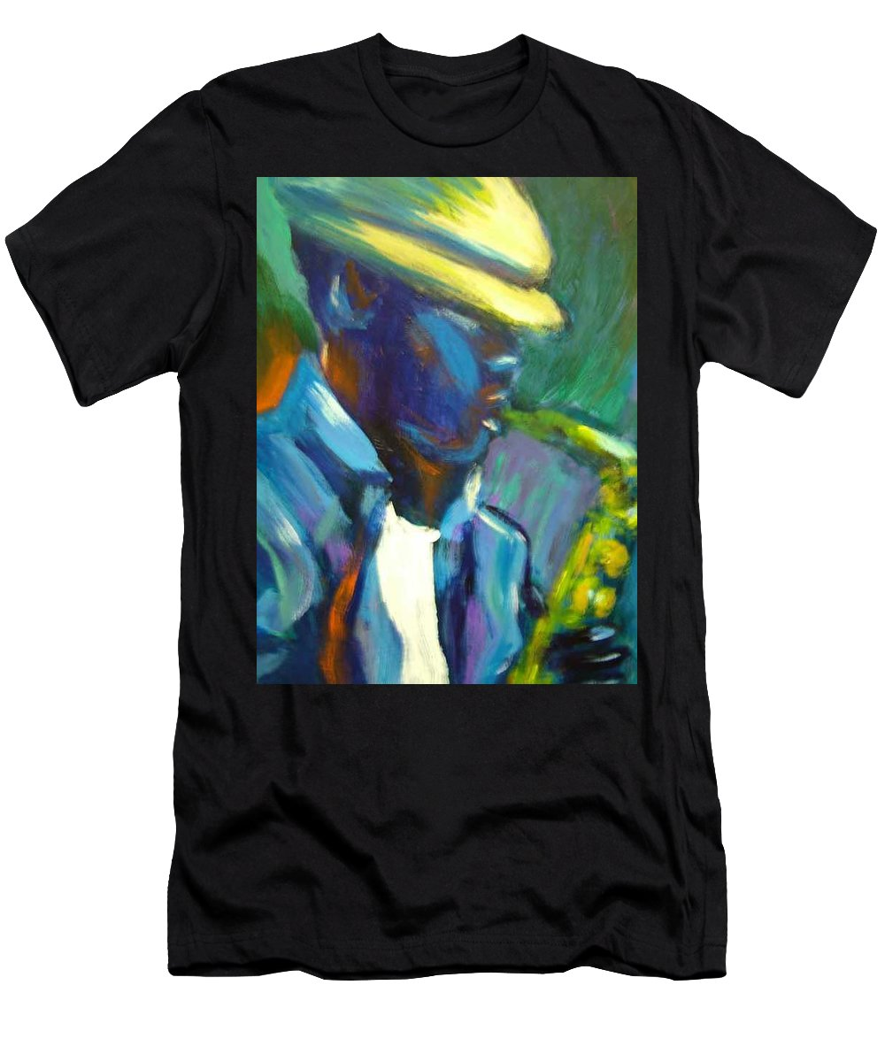 Sax Player Men's T-Shirt (Athletic Fit) featuring the painting D by Jan Gilmore