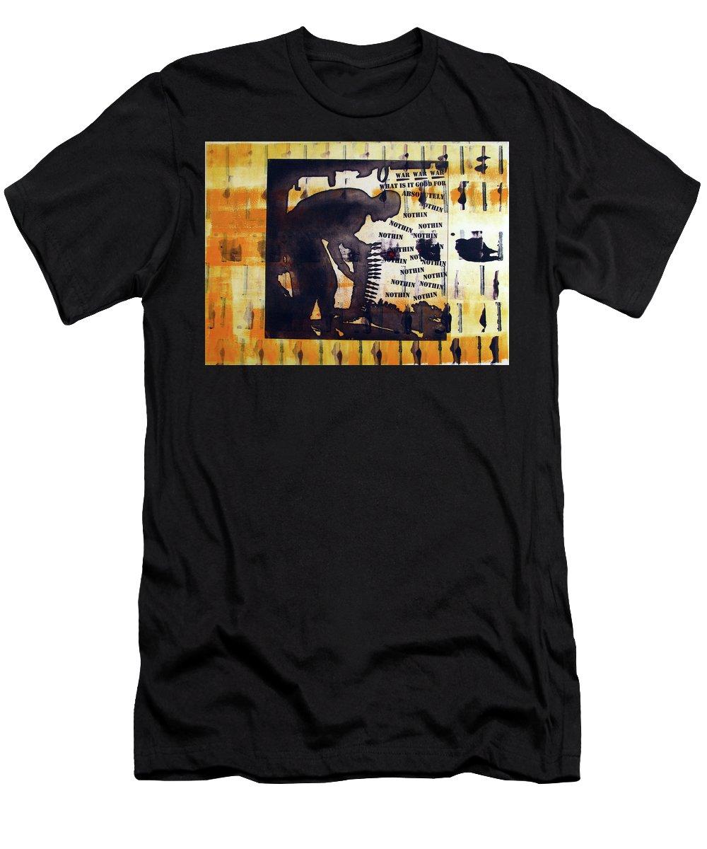 War Men's T-Shirt (Athletic Fit) featuring the painting D U Rounds Project, Print 14 by Erik Paul