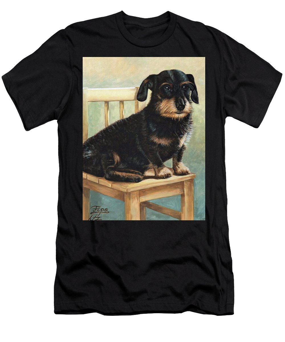 Dog Men's T-Shirt (Athletic Fit) featuring the painting Dachshund by Nicole Zeug