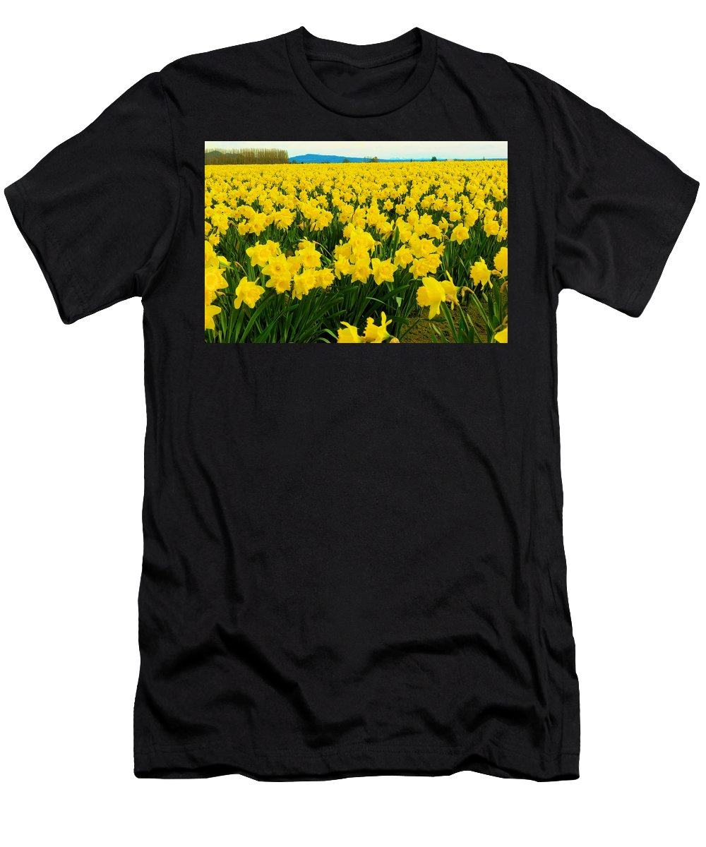Daffodils Men's T-Shirt (Athletic Fit) featuring the photograph Daffodils La Conner Washington by Jeff Swan