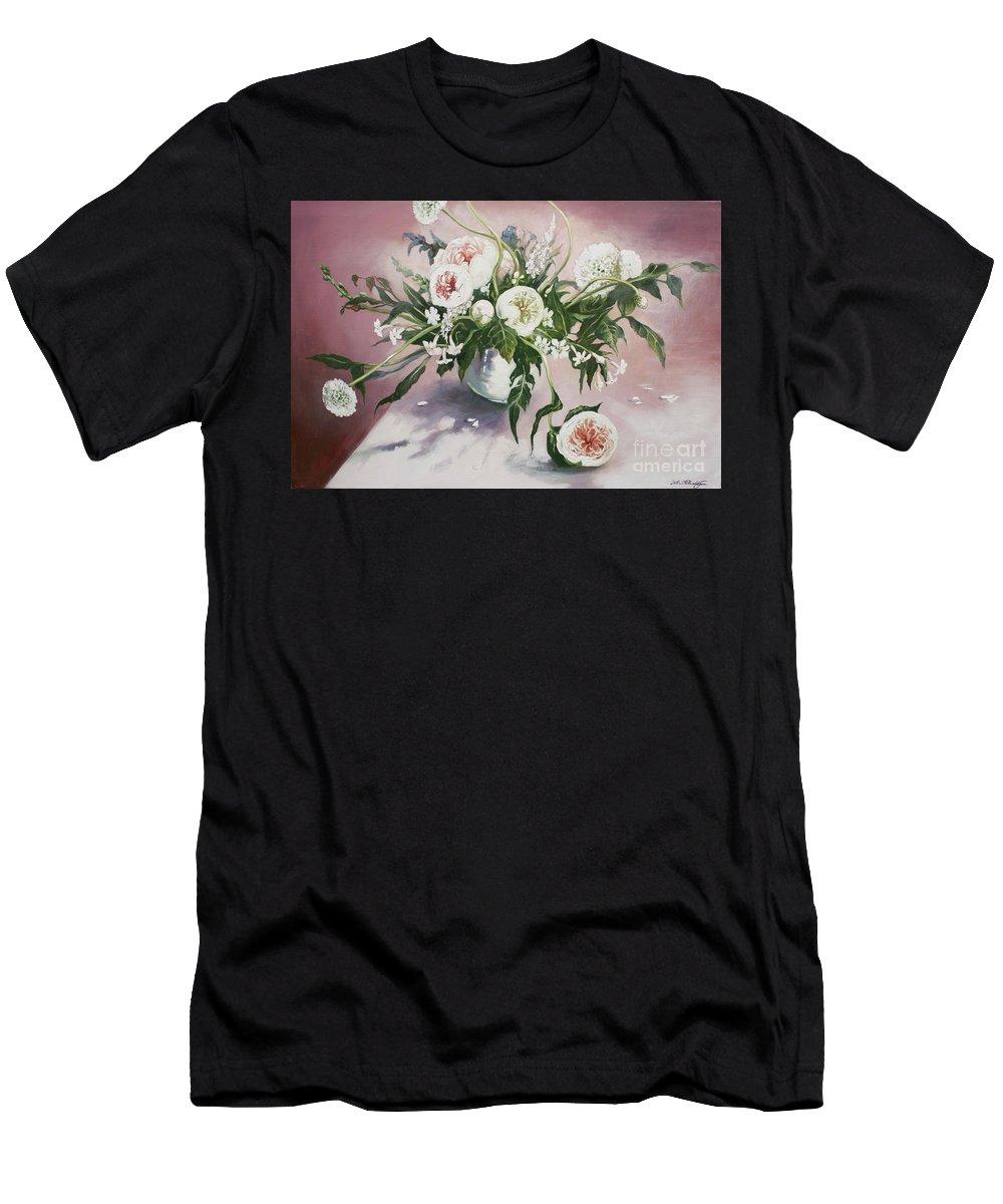 Lin Petershagen Men's T-Shirt (Athletic Fit) featuring the painting Dahlia Vase by Lin Petershagen