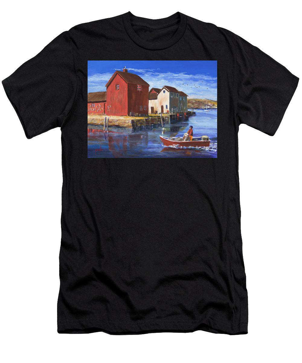 Massachusetts Men's T-Shirt (Athletic Fit) featuring the painting Daily Harvest by Ken Pieper