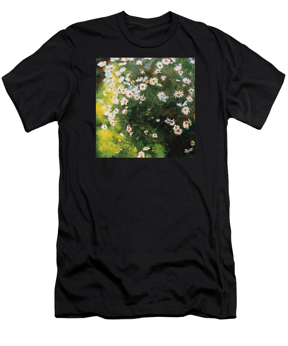Daisies Men's T-Shirt (Athletic Fit) featuring the painting Daisies by Iliyan Bozhanov