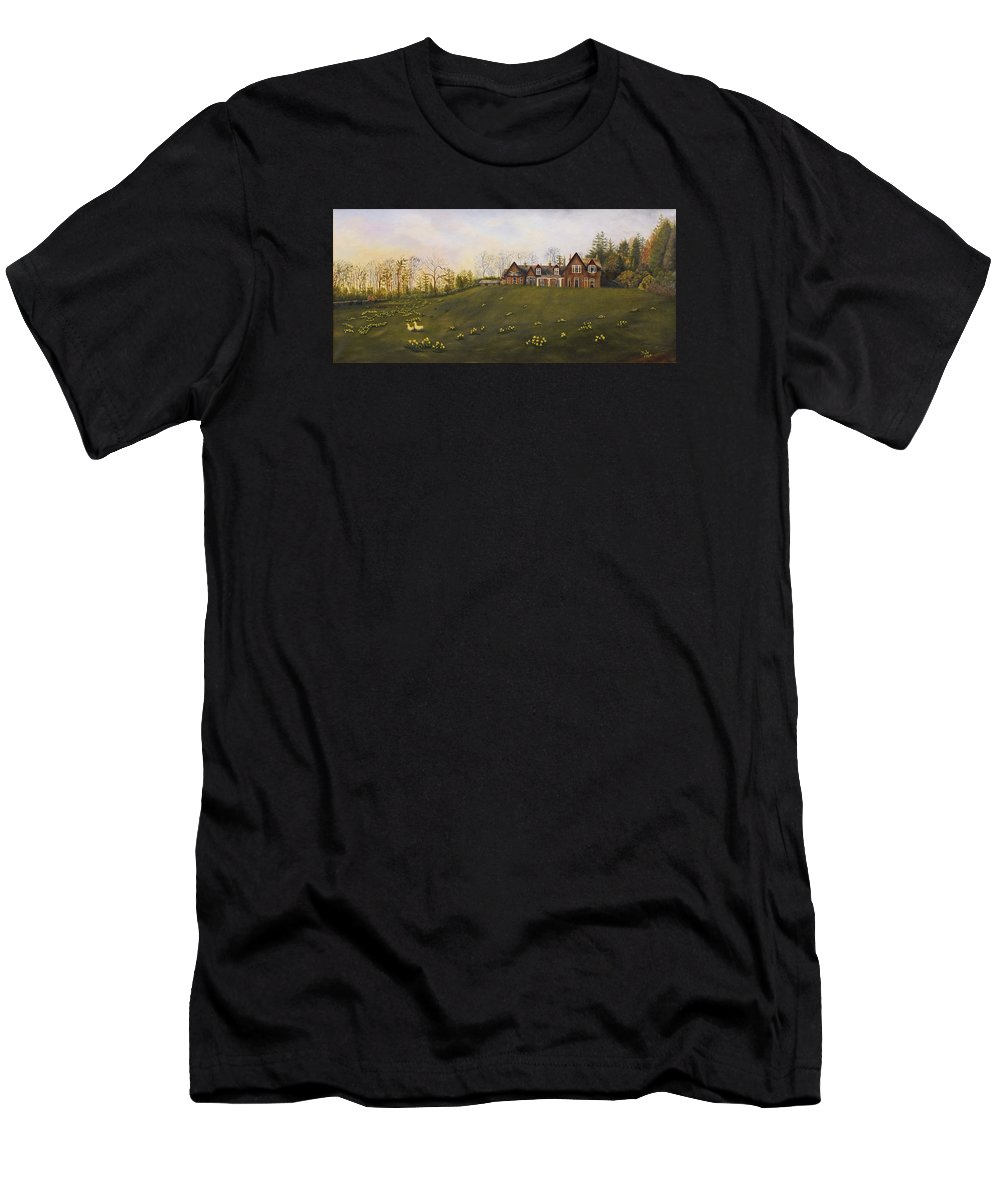 Landscape Men's T-Shirt (Athletic Fit) featuring the painting Dalhebity At Bieldside by Douglas Ann Slusher