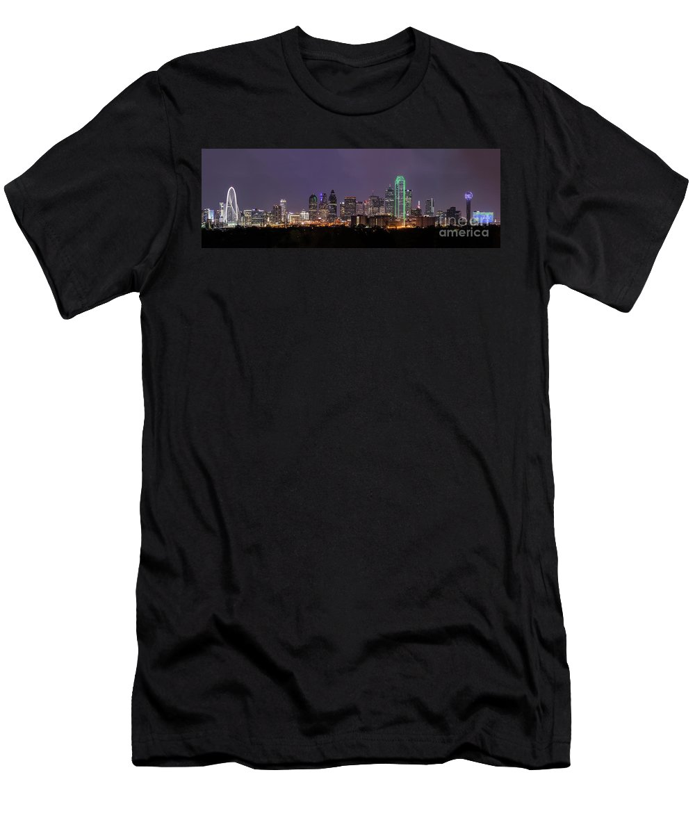 Dallas Skyline Panorama Men's T-Shirt (Athletic Fit) featuring the photograph Dallas Skyline At Night Pano by Tod and Cynthia Grubbs