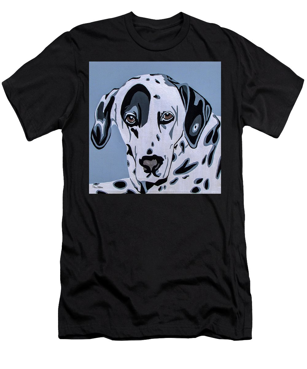 Dalmatian Men's T-Shirt (Athletic Fit) featuring the painting Dalmatian by Slade Roberts