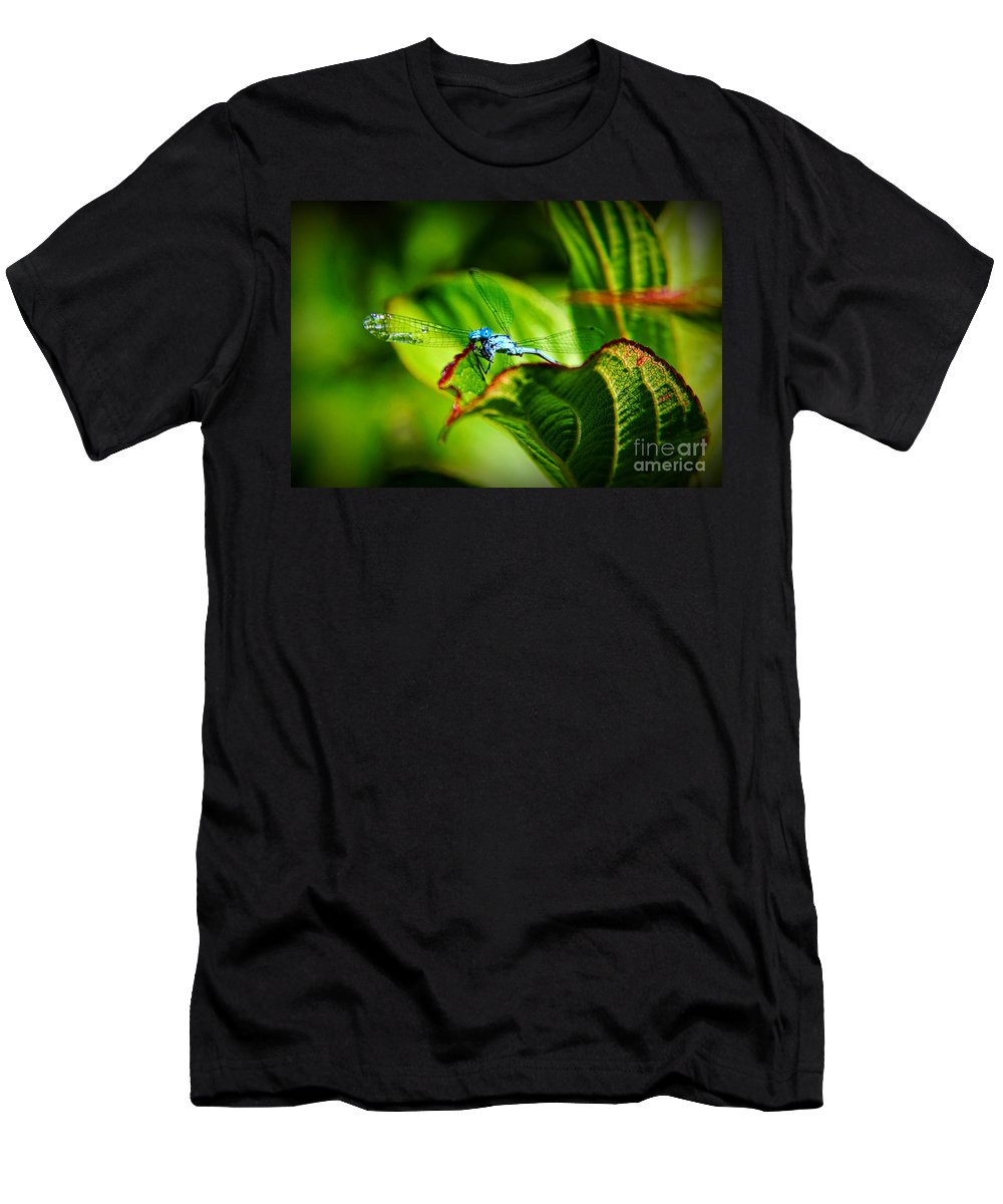 Damselfly Men's T-Shirt (Athletic Fit) featuring the photograph Damselfly by Mariola Bitner