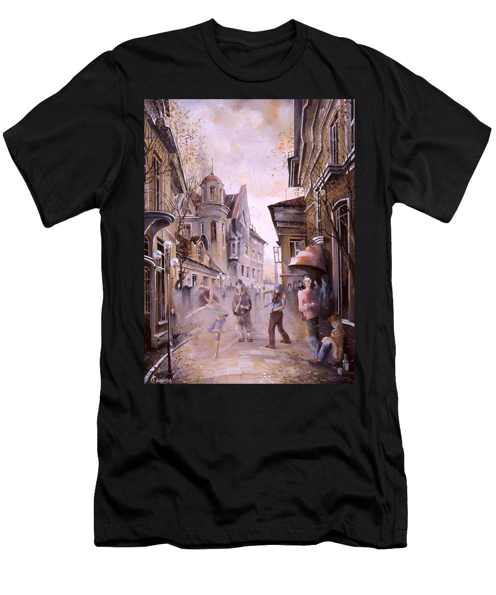 Dance Men's T-Shirt (Athletic Fit) featuring the painting Dance Dance by Aleksandr Starodubov