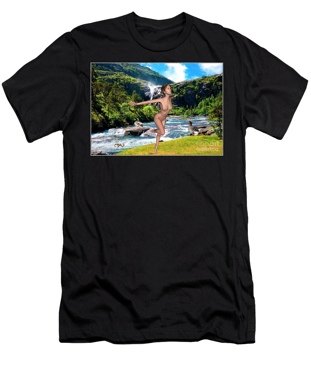 Modern Painting Men's T-Shirt (Athletic Fit) featuring the mixed media Dance To The Waterfall by Pemaro