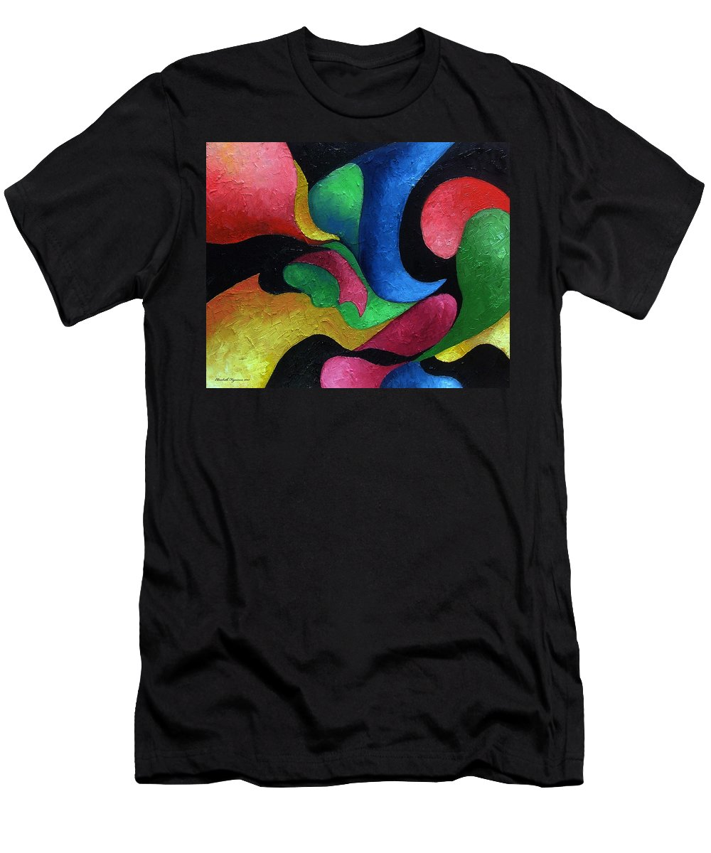 Abstract Men's T-Shirt (Athletic Fit) featuring the painting Dance With Me by Elizabeth Lisy Figueroa