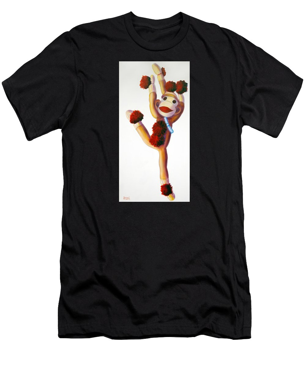 Dancer Men's T-Shirt (Athletic Fit) featuring the painting Dancer Made Of Sockies by Shannon Grissom