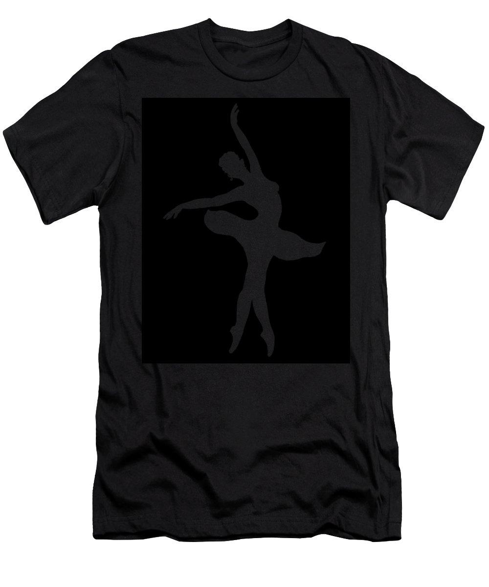 Ballerina Men's T-Shirt (Athletic Fit) featuring the painting Dancing Ballerina White Silhouette by Irina Sztukowski