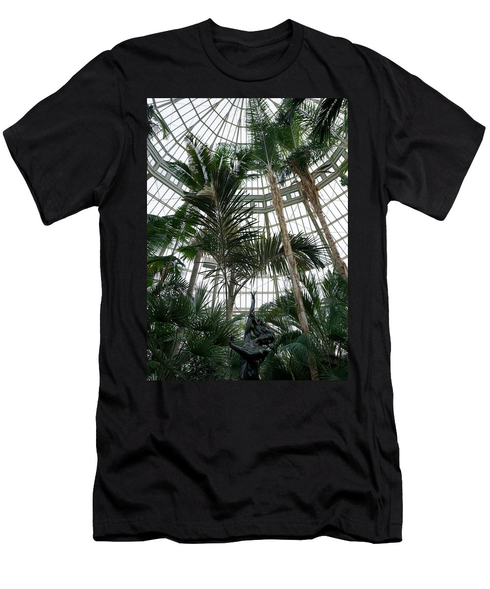 Dancing Jungle Trees Historic Architecture Building Como Conservatory Saint Paul Minnesota Men's T-Shirt (Athletic Fit) featuring the photograph Dancing In The Jungle by Pete Mikelson
