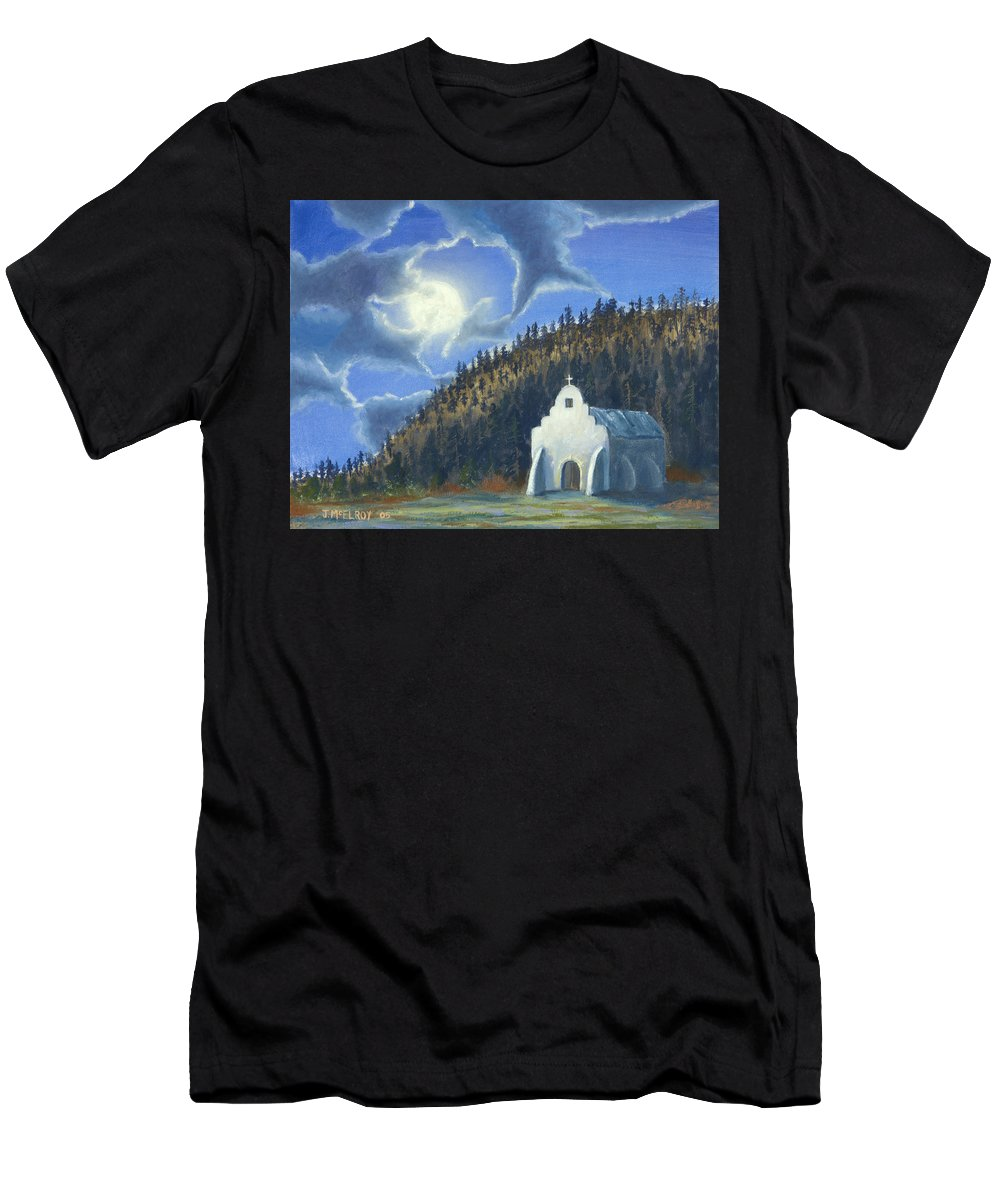 Landscape Men's T-Shirt (Athletic Fit) featuring the painting Dancing In The Moonlight by Jerry McElroy