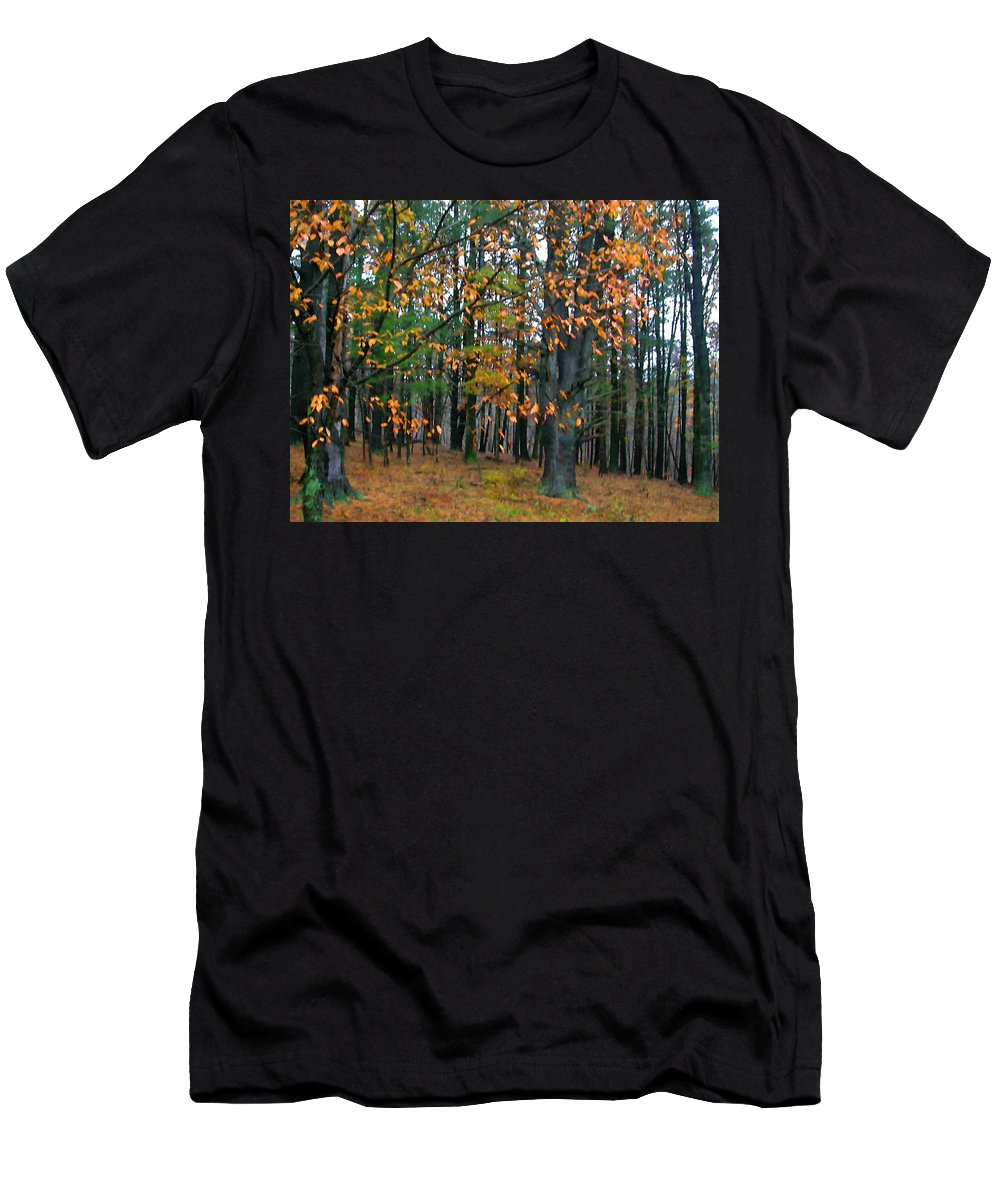 Autumn Men's T-Shirt (Athletic Fit) featuring the painting Dancing Leaves by Paul Sachtleben
