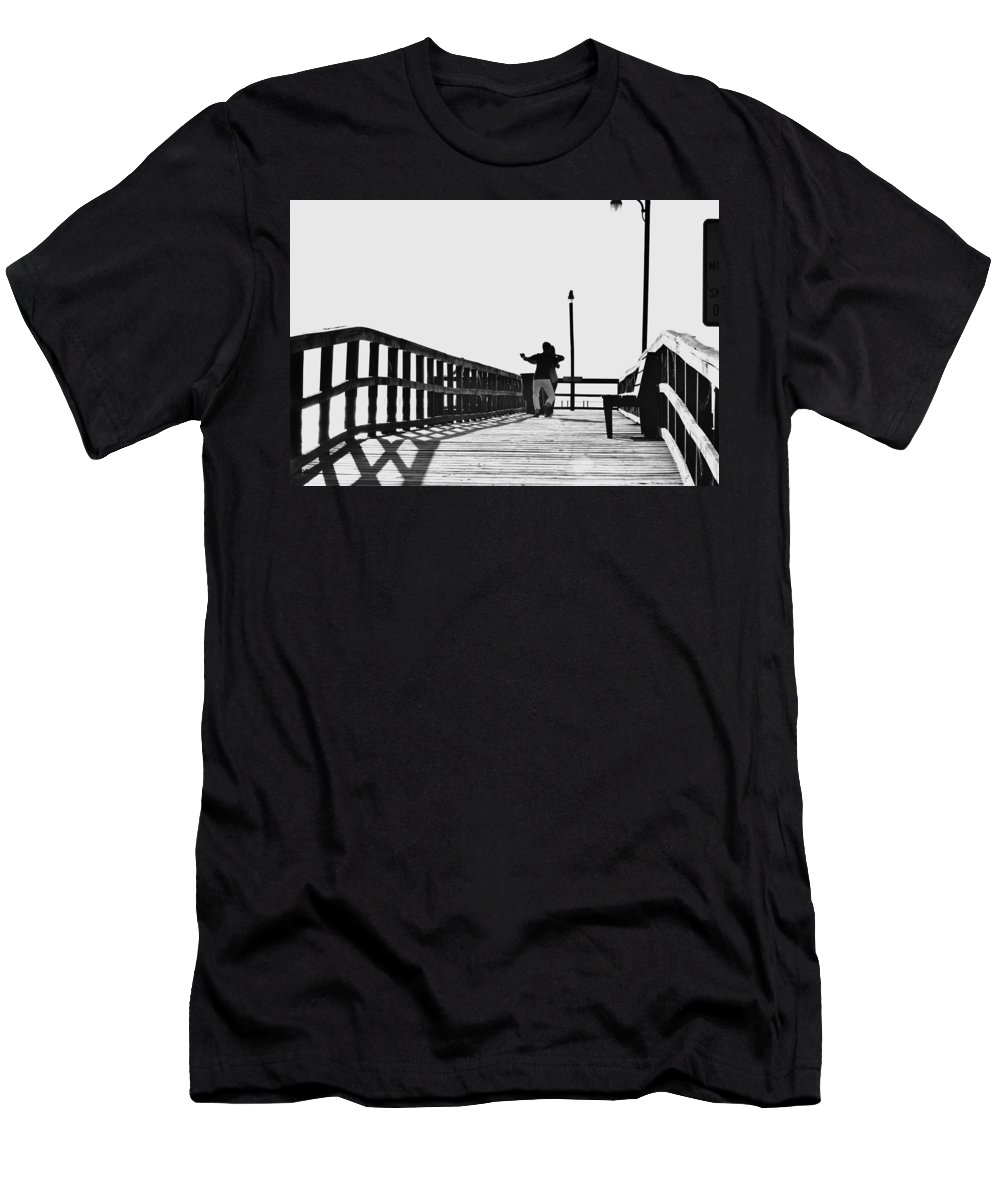Background Men's T-Shirt (Athletic Fit) featuring the photograph Dancing On The Pier by Amber Skinner