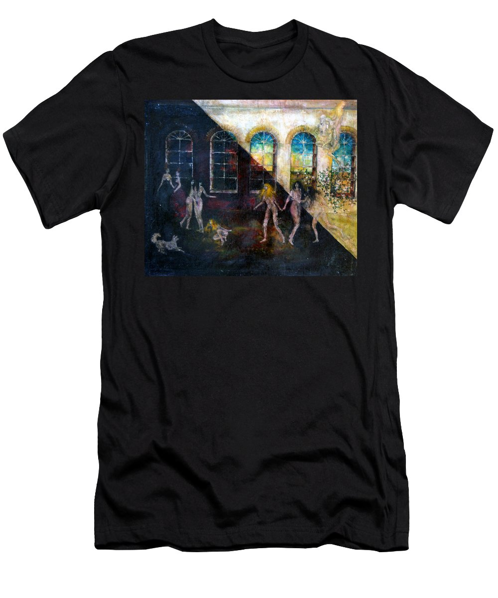 Imagination Men's T-Shirt (Athletic Fit) featuring the painting Dangerous Parties by Wojtek Kowalski