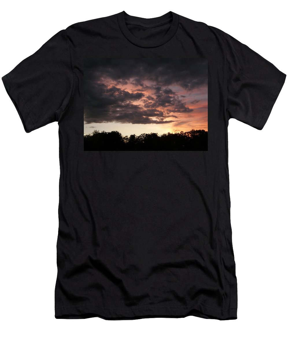 Clouds Men's T-Shirt (Athletic Fit) featuring the photograph Dark Clouds In The Sky by Alice Markham