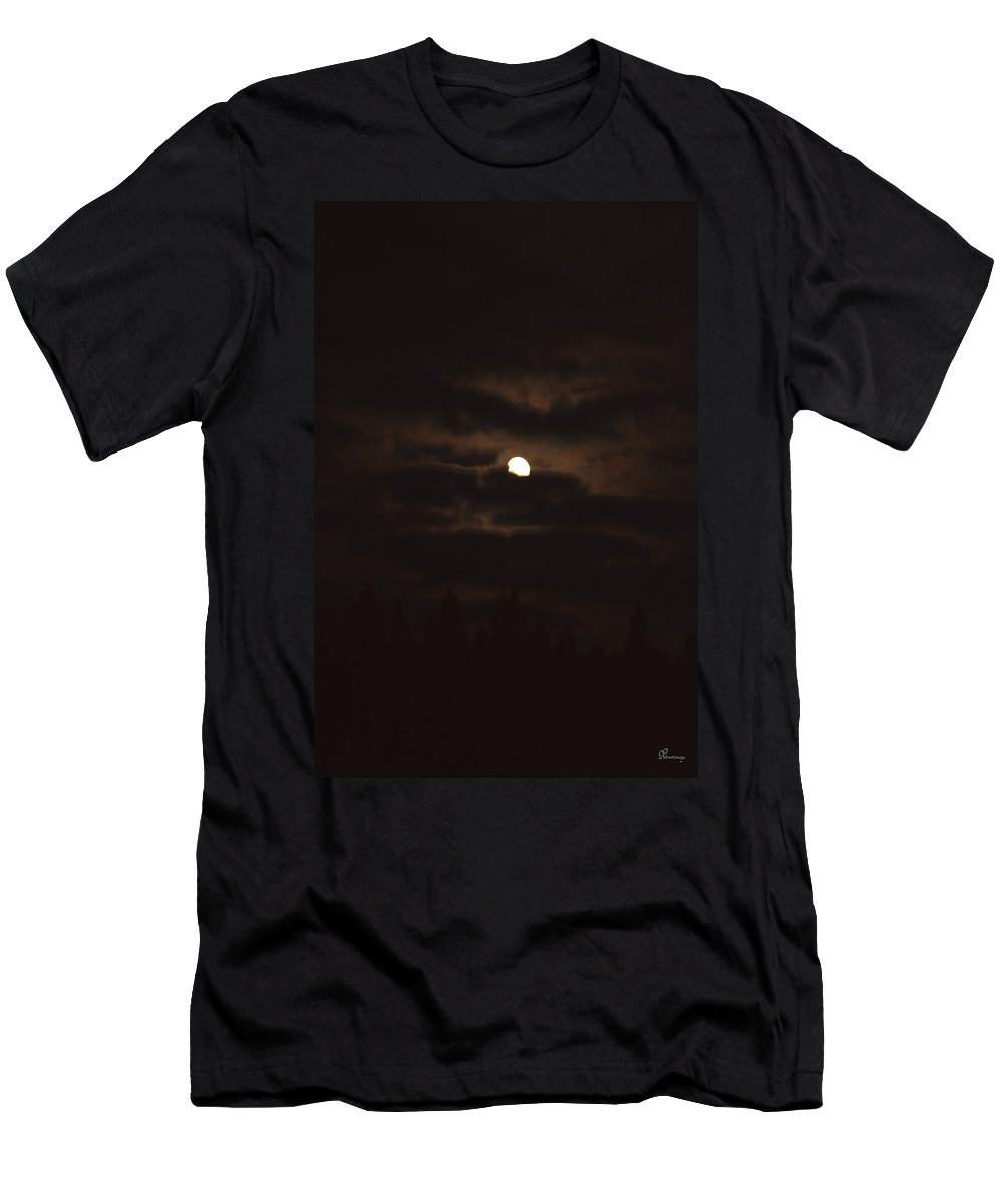 Moon Clouds Night Evening Light Cloudy Sky Trees Moonlight Moonlit Men's T-Shirt (Athletic Fit) featuring the photograph Dark Night by Andrea Lawrence