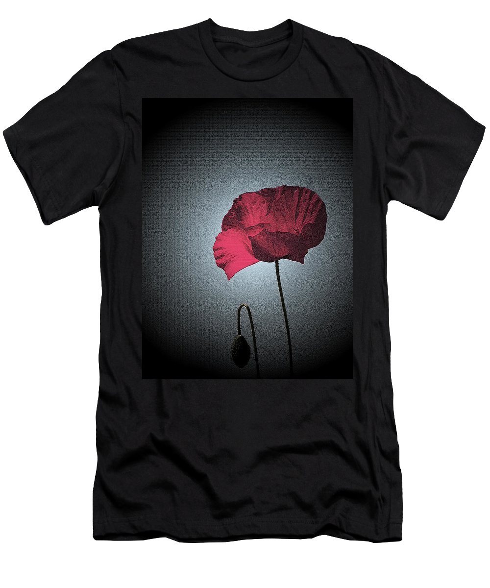 Poppy Men's T-Shirt (Athletic Fit) featuring the photograph Dark Remembrance by Bel Menpes