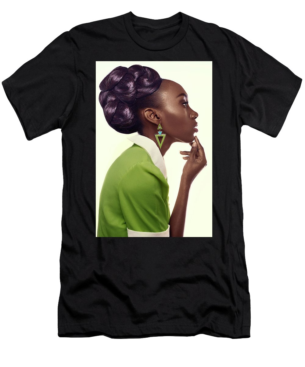 Black Woman Men's T-Shirt (Athletic Fit) featuring the photograph Dark Skinned Woman In Updo With Big Curls by Gemree Mangilit