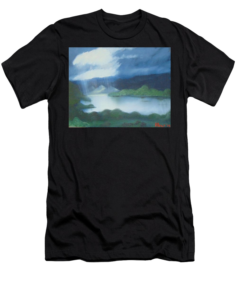 Bob Ross Style Men's T-Shirt (Athletic Fit) featuring the painting Dark Storm by Alan K Holt