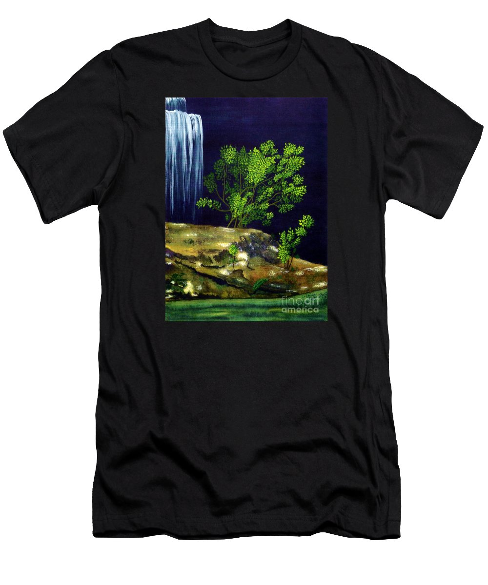 Fine Art Men's T-Shirt (Athletic Fit) featuring the painting Dark Waters by Patricia Griffin Brett