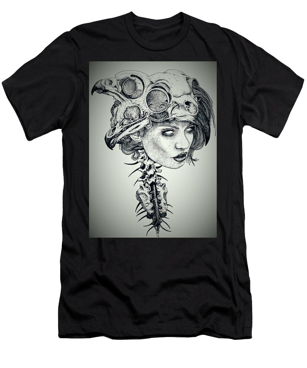 Darkness Men's T-Shirt (Athletic Fit) featuring the drawing Darkness Of Women by Yudhit Hadi