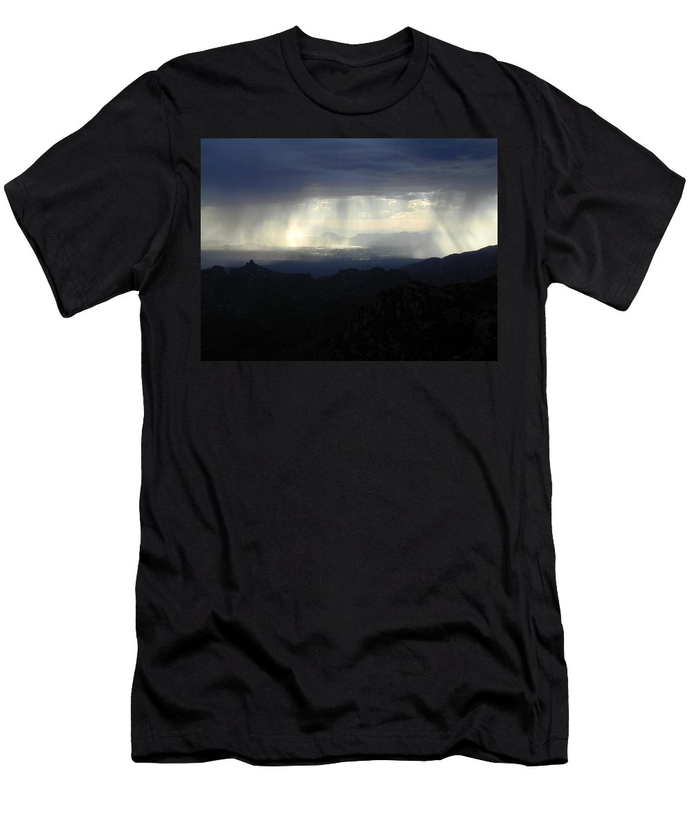 Darkness Men's T-Shirt (Athletic Fit) featuring the photograph Darkness Over The City by Douglas Barnett