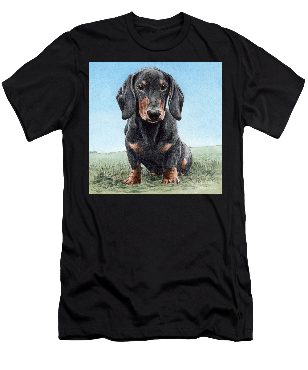 Daschund Men's T-Shirt (Athletic Fit) featuring the painting Daschund by Keran Sunaski Gilmore
