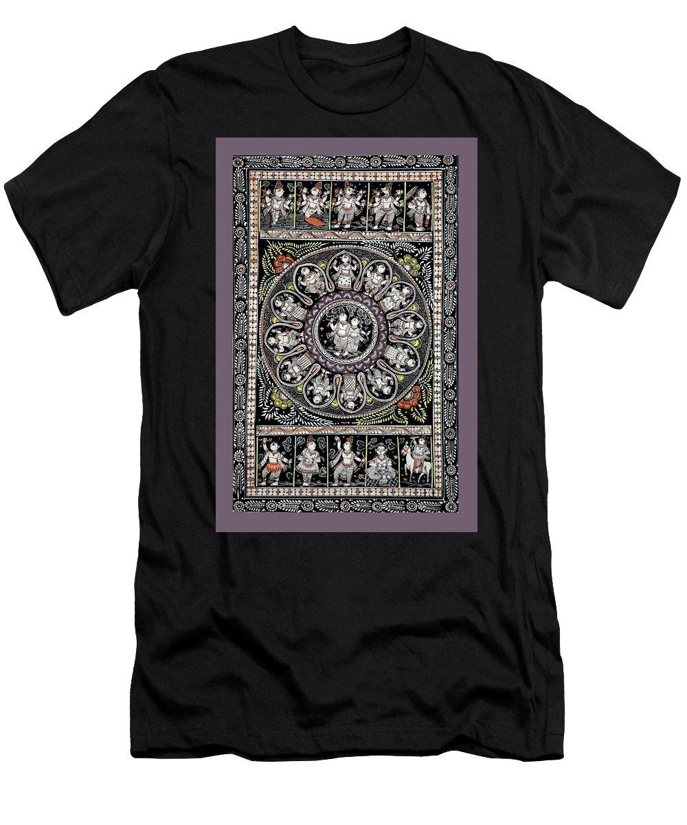 Men's T-Shirt (Athletic Fit) featuring the painting Dashavtar B/w 1 by Bal Krishna Bariki