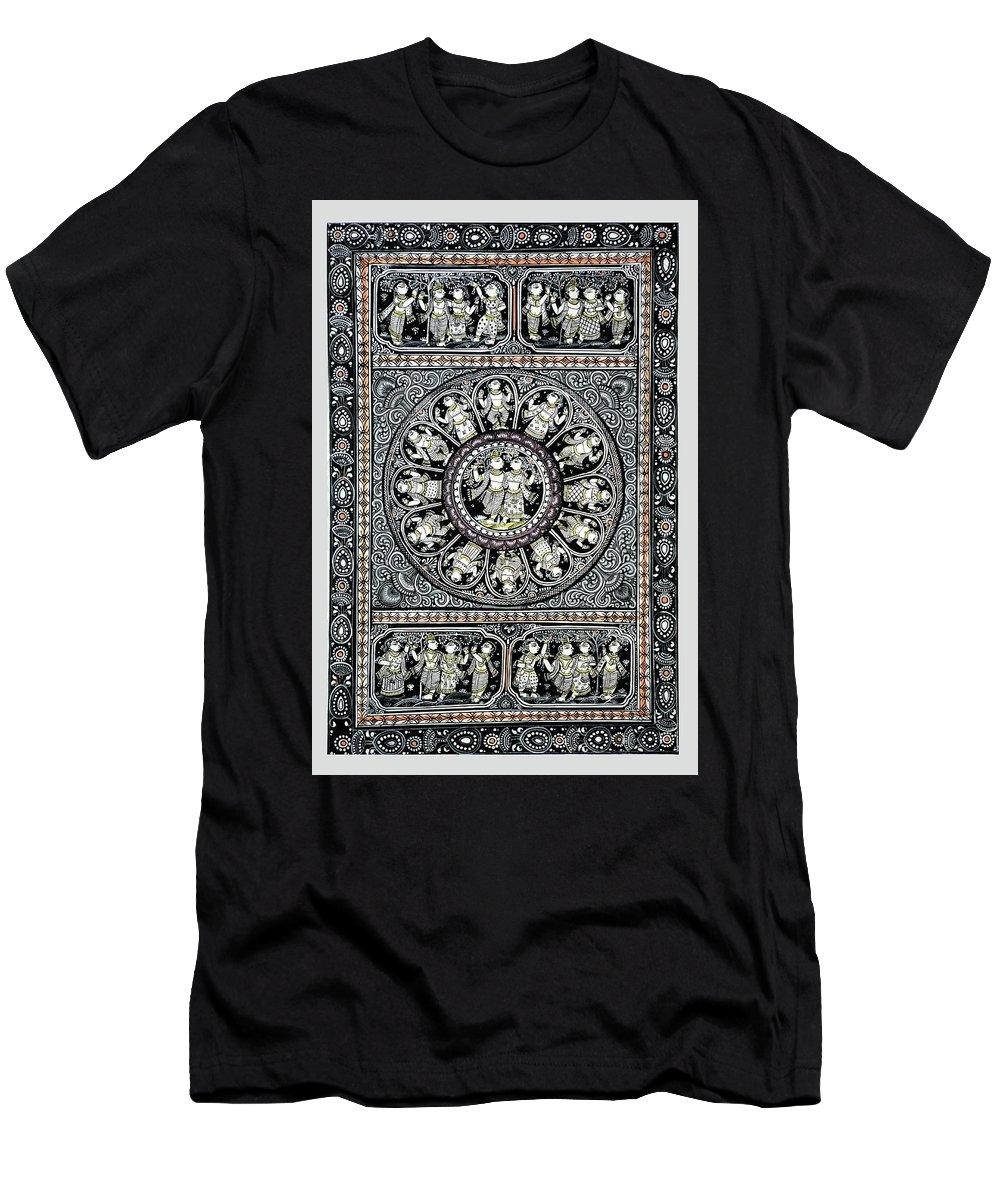 Men's T-Shirt (Athletic Fit) featuring the painting Dashavtar B/w 4 by Bal Krishna Bariki