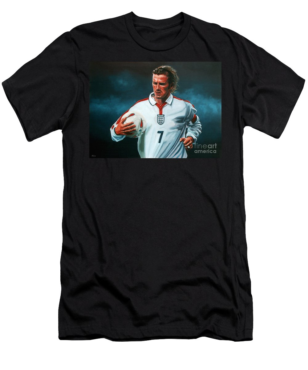 David Beckham Men's T-Shirt (Athletic Fit) featuring the painting David Beckham by Paul Meijering