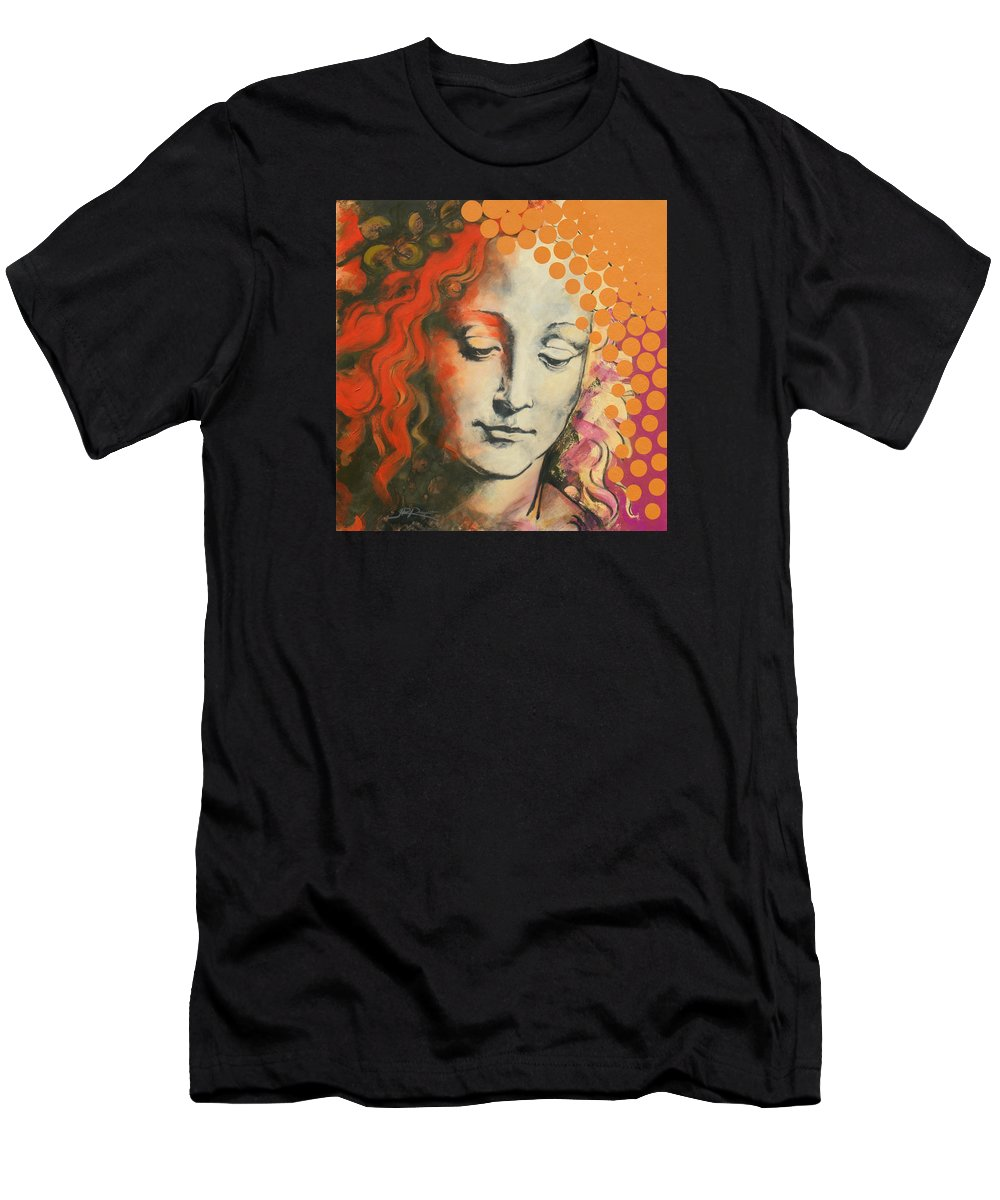 Figurative Men's T-Shirt (Athletic Fit) featuring the painting Davinci's Head by Jean Pierre Rousselet