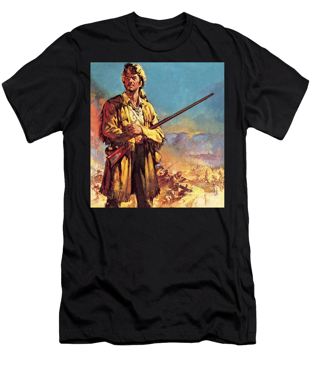 Davy Crockett T-Shirt featuring the painting Davy Crockett Hero Of The Alamo by James Edwin McConnell