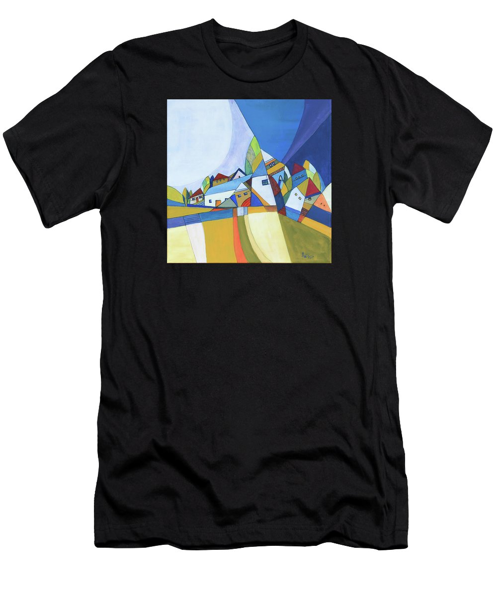 Acrylic Men's T-Shirt (Athletic Fit) featuring the painting Dawn by Aniko Hencz