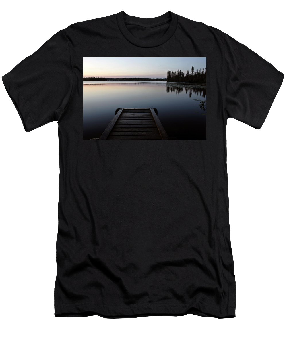 Reflections Men's T-Shirt (Athletic Fit) featuring the digital art Dawn At Lynx Lake In Northern Saskatchewan by Mark Duffy