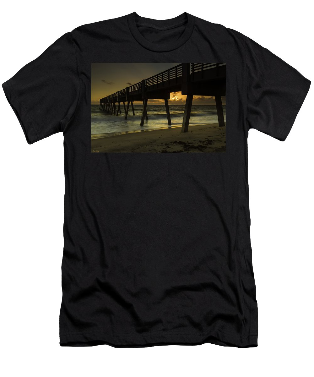 Pier Men's T-Shirt (Athletic Fit) featuring the photograph Dawn At The Pier by Fran Gallogly