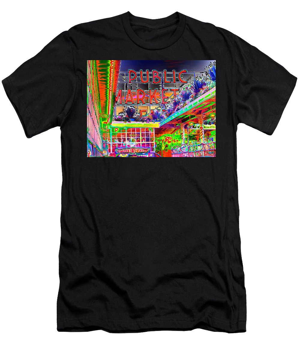 Seattle Men's T-Shirt (Athletic Fit) featuring the photograph Day At The Market by Tim Allen