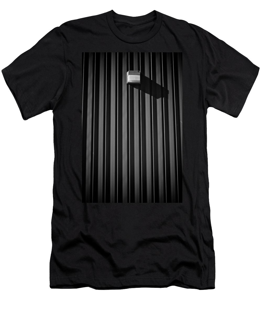 Black And White Photograph Men's T-Shirt (Athletic Fit) featuring the photograph Day Light On Wall by Mike Oistad