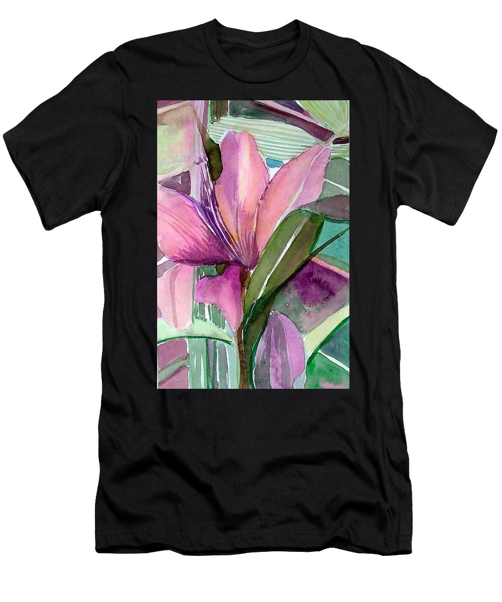 Flower Men's T-Shirt (Athletic Fit) featuring the painting Day Lily Pink by Mindy Newman