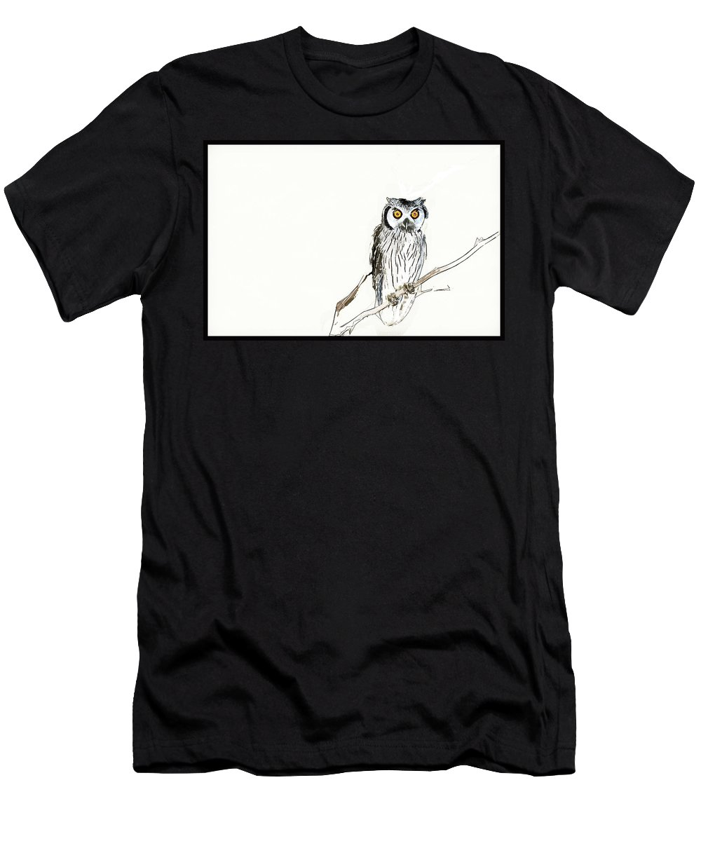 African Men's T-Shirt (Athletic Fit) featuring the photograph Day Owl by Keith Furness