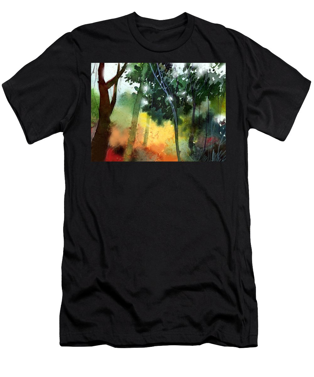 Water Color Men's T-Shirt (Athletic Fit) featuring the painting Daybreak by Anil Nene