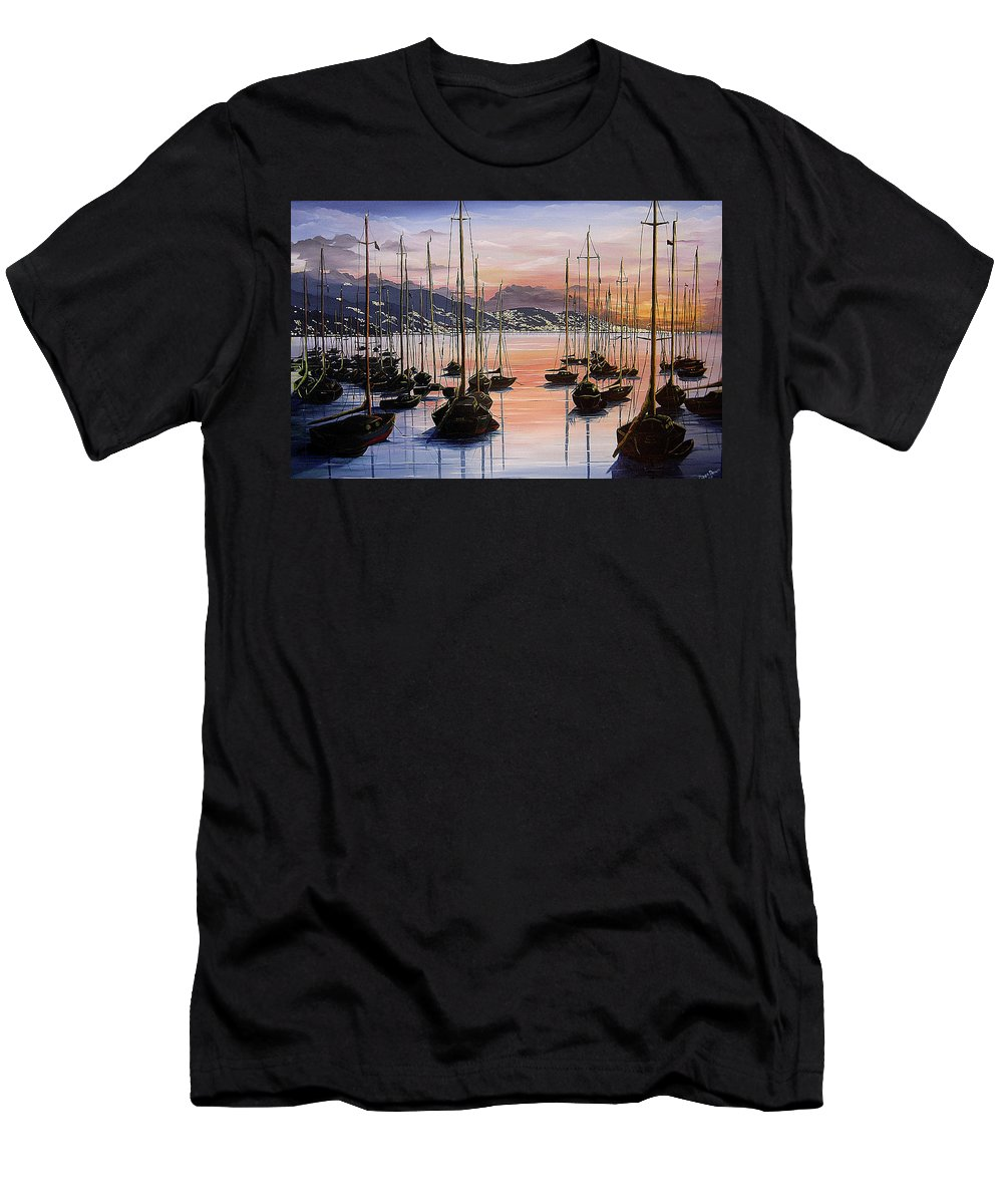 Seascape Painting Yacht Painting Harbour Painting Port Of Spain Trinidad And Tobago Painting Caribbean Painting Tropical Seascape Yachts  Painting Boats Dawn Breaking Greeting Card Painting Men's T-Shirt (Athletic Fit) featuring the painting Daybreak by Karin Dawn Kelshall- Best